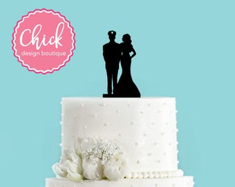 Police Officer Couple Acrylic Wedding Cake Topper