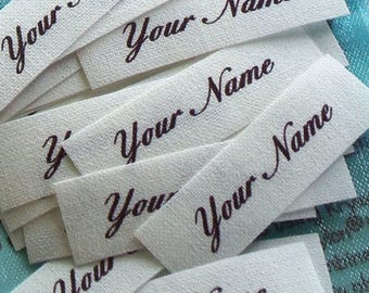Small Sized Custom Cotton Fabric Labels Sew In Clothing Name Tags Identification Personalized Washable Colorfast 64  - 1/2 x 1 3/4 Inch