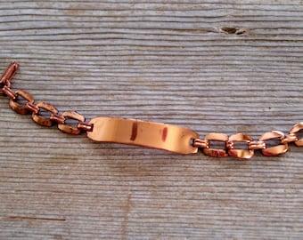 Girl's Copper ID Bracelet, Vintage Copper Bracelet, Copper Identification Bracelet, Modernist Copper Bracelet, Copper Link Bracelet