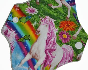 Liner Core- Rainbow Unicorns Reusable Cloth Petite Pad- WindPro Fleece- 6.5 Inches