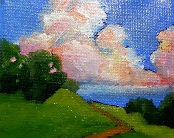 Miniature Painting 4x4 Plein Air California Pacific Coast Impressionist Oil Landscape Lynne French Art