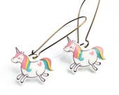 Handmade Illustrated Unicorn Dangle Drop Earrings