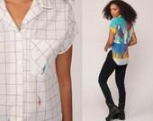 PARROT Shirt Hawaiian Shirt 80s Bird Top Button Up Vintage TROPICAL Blouse Surfer 1980s Short Sleeve White Novelty Print Summer Small Medium