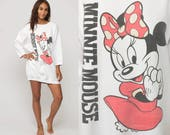 Minnie Mouse Sweatshirt Disney Sweater 80s Grunge Shirt Bow Cartoon Graphic Print 90s Vintage Hipster White Retro Extra large xl