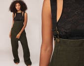 Wool Overalls 80s Grunge Suspender Pants Bib Long Olive Green Drab 1980s Baggy Dungarees Vintage Hipster Baggy Wide Leg Large