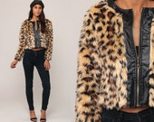 Leopard Faux Fur Coat Fake Fur Jacket Vegan Cropped Jacket Animal Print Vintage 90s Bohemian Furry Glam Fuzzy Hipster Boho Extra Small xs