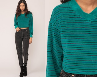 Cropped Sweatshirt V NECK Shirt Striped Long Sleeve Shirt VELOUR 80s Grunge Retro Top Teal Green Boho 1980s Pullover Small Medium