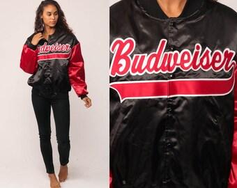 Satin Jacket Bomber BUDWEISER Jacket Beer Jacket 80s Baseball Jacket Uniform Snap Bud Rockabilly Coat 1980s Vintage Black Retro Medium