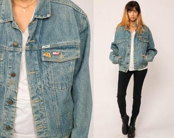 GUESS Jean Jacket 80s Denim Jacket Vintage Oversized Trucker BUD Racing PIN Grunge Biker Blue Button Up 90s Hipster Coat Small