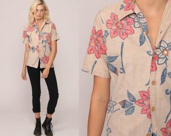 Tropical Shirt 70s Blouse Floral Print Hawaiian Shirt Tiki Button Up Shirt 1970s Boho Top Beach Summer Tan Small