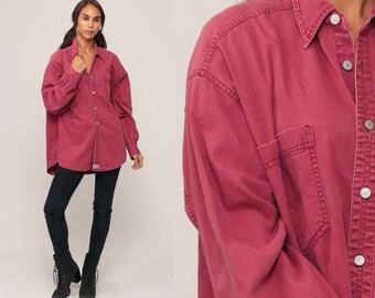 Levis Shirt Burgundy Button Down Shirt up 90s Grunge Levi Jean Boyfriend Oversized Cotton 1990s Long Sleeve Oxford Vintage Extra Large xl