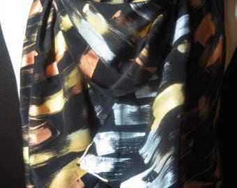 Shine On - Made to Order - hand painted silk crepe de chine scarf, black, silver, gold, copper metallic shimmering scarf