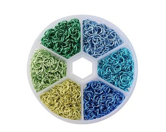 Aluminum Open Jump Rings 6 Colors Various Shades of Blue and Green 6mm 1Box