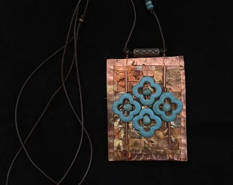 Woven Copper Necklace with Turquoise Colored Beads - Item N28