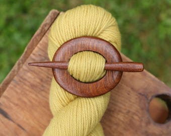 Mahogany Shawl Pin - Handmade Wooden Shawl Pin -Wood Shawl Pin- Eco Knitting Supplies