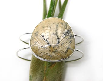 MADE-TO-ORDER: Pale Fossilized Sand Dollar Silver Modern Cuff Bracelet