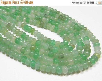 "20% OFF 7"" Gemstone STRAND - Green Aventurine - 4x6.5mm Rondelles - Shades of Pastel Spring Green (7"" strand - 45 beads) - str1170"