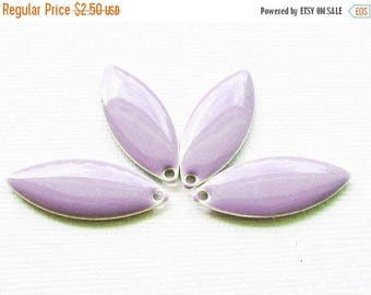 20% OFF Metal & Epoxy Solid Marquise Drops - Silver Plated Lavender Purple (4 drops) - spa515