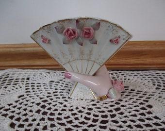 Vintage Vase Porcelain Lady's Fan -  Hand Vase With Pink Roses