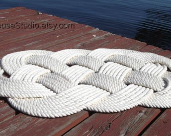 FREE SHIP, Nautical Bathmat, Cotton Nautical Mat and Rug, Nautical Decor, Nautical Bathroom, 30' by 19',Treat Yourself - Rope Rug