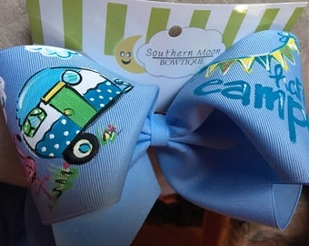 Hand painted Happy Camper Bow