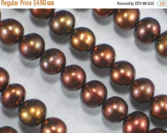 ON SALE 20 pcs Lovely Pearls 6mm Copper Brown Bronze Round Potato (4269 -20)