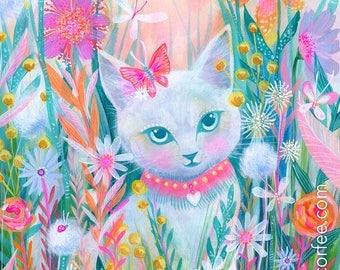 Garden Kitty PRINT - cat art, garden art, Butterfly art, Kitten art