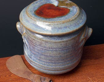 Large Stoneware French Butter Crock With Clay Knife ~ Apple Design ~ holds 2 sticks