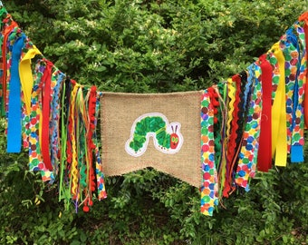 Free USA Shipping/The Hungry Caterpillar Fabric Banner/The Hungry Caterpillar High Chair Banner/The Hungry Caterpillar Fabric Garland