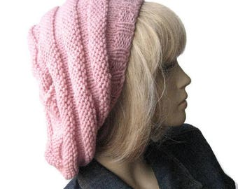 Pale Pink Hand Knit Hat, Beehive Beret, Pink Knit Beret, Fall Fashion, Womens Accessories, Knit Pink, Slouchy Beanie