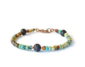 Lava Rock Aromatherapy Diffuser Bracelet, Czech Glass Seed Beads, Balance Energy Jewelry