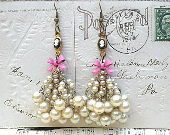 cameo earrings lush goddess assemblage pink recycled vintage jewelry romance faux pearl dangle chandelier black white