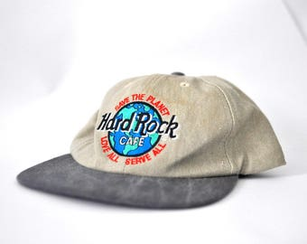 Hard Rock Cafe Hat Vintage Baseball Cap New York Nyc Relaxed Snap Back One Size Tan Beige Charcoal Gray Hat 90s Snapback