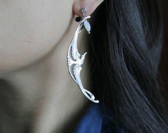 Long bird Earrings, Silver Bird Earrings, Dangle Bird Earrings, Mother of pearl Earrings, Gift for her, Gift for wife, Gift for girlfriend