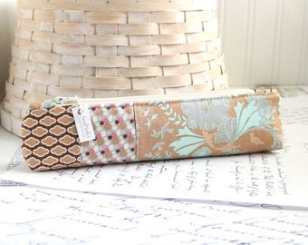 Pencil Case Blue and Brown Skinny Pencil Pouch Students Back to School Organizer