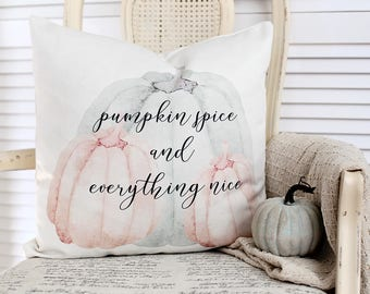 Pumpkin spice,seasonal,autumn,fall,holiday,pillow cover, typography,throw pillow,blue,decorative pillow