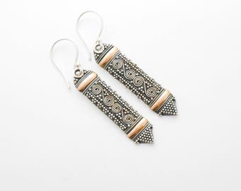 Rich granulation Sterling Silver gold 18 ct foil dangle earrings / silver 925 / Bali Handmade Jewelry / (#290ko)