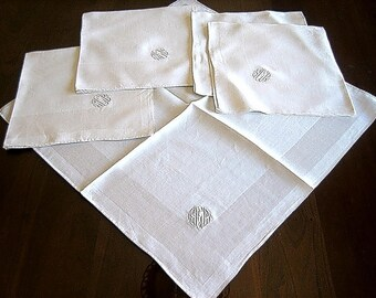 DAMASK Napkins for Tablecloth Replacement Set Vintage LARGE LINEN White Set 5 Monog