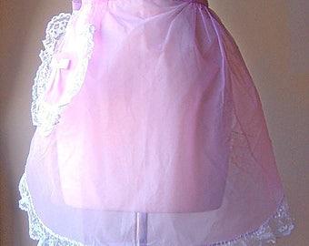 APRON Kitchen Skirt Bottom Cover PINAFORE Vintage Lavender Purple Organdy Heart Pocket