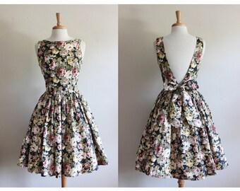 Vintage Black Floral Cotton Open Back Dress