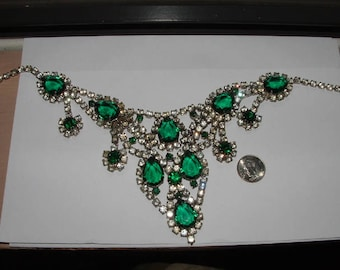 BIB-60s vintage massive juliana green rhinestone nklace runway style REPAIR please- one solder spot