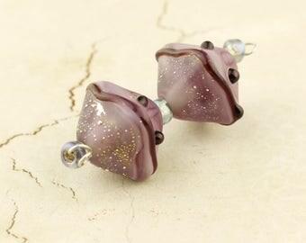 SRA Glass Lampwork Bead Pair, Chunky Crystal Bicone, Purple, Silver