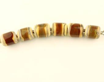 Lampwork Beads Set Cream, Brown Glass Barrel Set