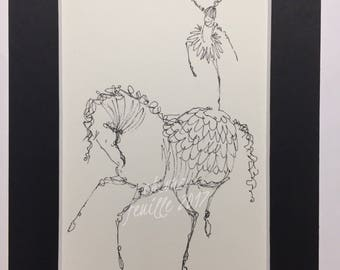 "Horse Art: Modern Dance at the Circus. Original India Ink Line Drawing on Off White 4""x6""  Acid Free Paper. Matted to 5""x 7"""