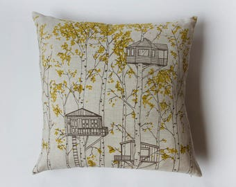 SALE 20% OFF - Linen Pillow Cover - Yellow Tree Houses