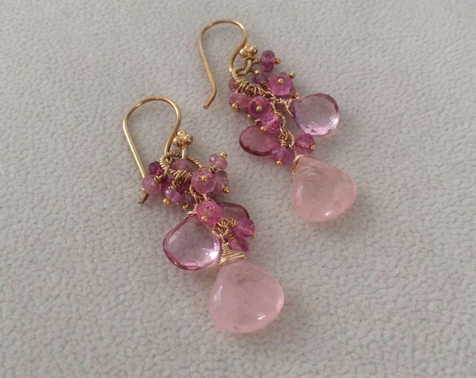 Pink Aquamarine Gemstone Earrings in Gold Vermeil with Pink Sapphire, Pink Tourmaline, Mystic Pink Topaz