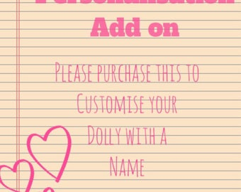 Personalisation option for dolly purchases. Add a heart with an embroidered name or word to any of my cushions