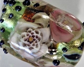 Large Handmade Lampwork Murrini Floral Focal Bead -- SRA by SandandSurfBeads