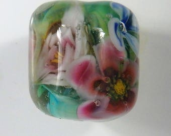 Lampwork Barrel Bead -Petite Floral Flower Murrini Glass Bead- Jewelry Supply - Handmade by Sand and Surf Beads SRA