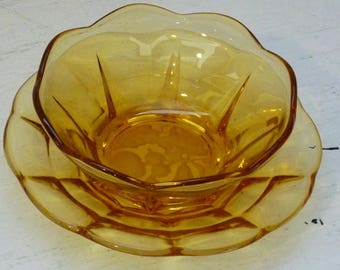 Vintage Amber Glass Fluted Bowl and Etched Glass Fruit Plate Cottage Charm Housewarming Gifts Under 30 1950s FREE SHIPPING